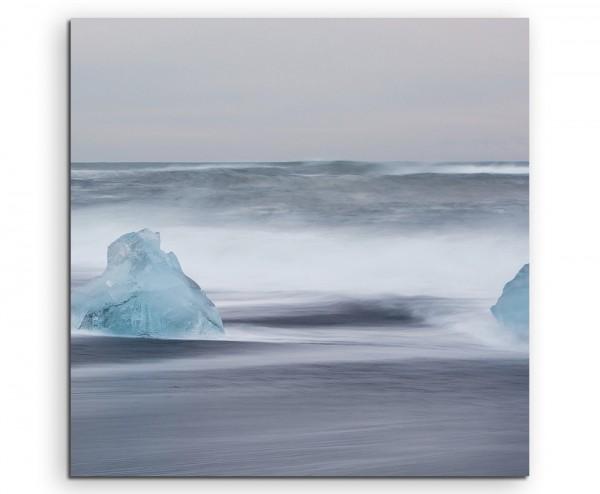 Landschaftsfotografie – Eisschollen im Meer, Island auf Leinwand exklusives Wandbild moderne Fotogr