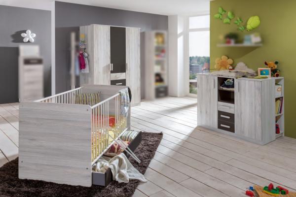 Babyzimmer Cariba in Weißeiche und Graphit von Wimex 7 teiliges Superset