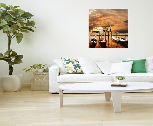 80x80cm Venedig Wasser Gondeln Sonnenuntergang