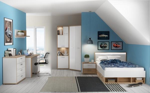 Jugendzimmer Chicory 8 teiliges Komplett Set von Forte in Eiche Riviera und Weiß Hochglanz mit Eckle