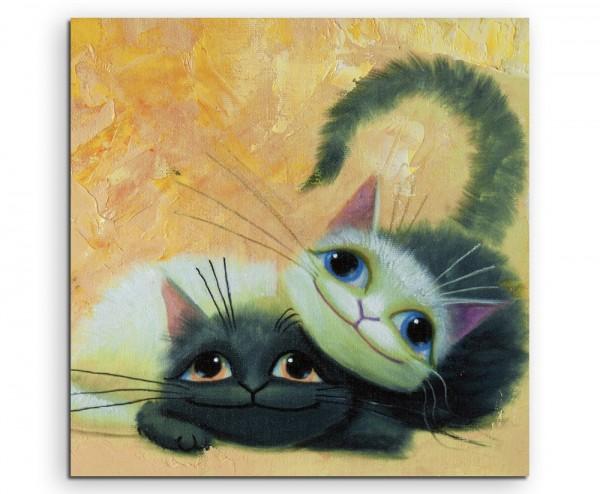 Gemälde von zwei süßen Katzen auf Leinwand
