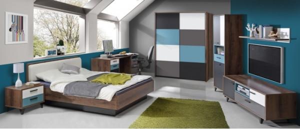 Jugendzimmer Raven 7 tlg. 120er Bett und Schwebetürenschrank