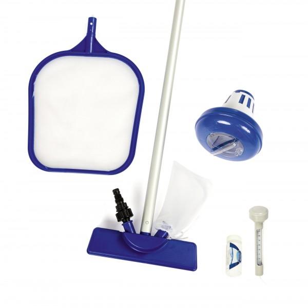 Bestway 58195 Flowclear Poolpflege Komplett-Set mit Venturi-Sauger & umfangreichem Zubehör für Poolgrößen bis 396