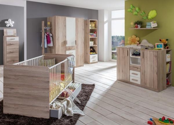 Babyzimmer Cariba in Eiche San Remo und Weiß von Wimex 9 teiliges Megaset +++ von möbel-direkt+++ schnell und günstig