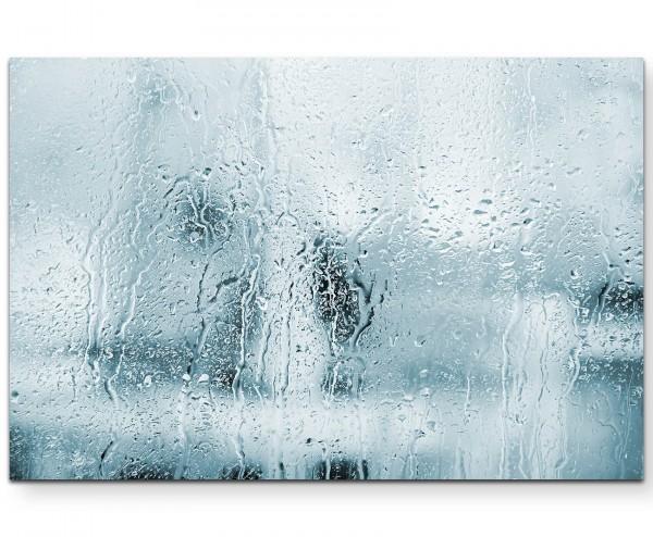 Fotografie – Glasfront mit Regen - Leinwandbild