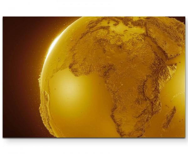 abstraktes Relief eines Globus – Goldtöne - Leinwandbild