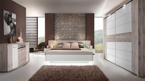 Schlafzimmer Rondino in Sandeiche von Forte Megaset mit Schwebetürenschrank, Bettanlage, Sitzbank, K