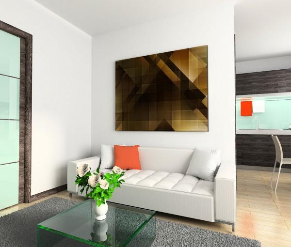 120x80cm Wandbild Hintergrund abstrakt Geometrie braun gelb schwarz
