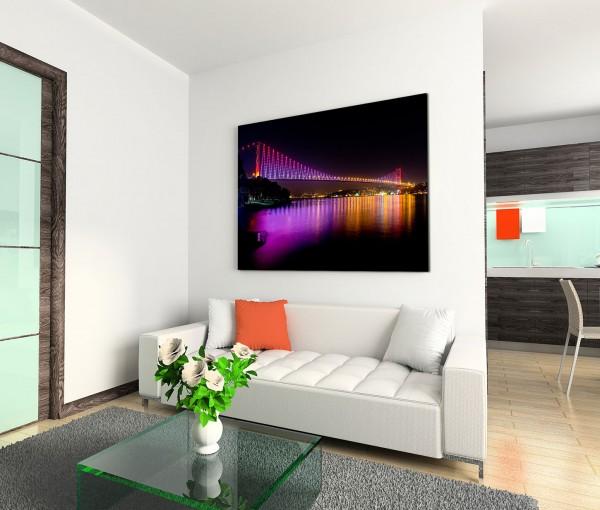 120x80cm Wandbild Istanbul Bosporus Brücke Nacht Lichter Reflexion