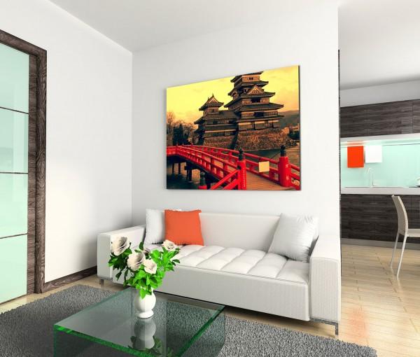 120x80cm Wandbild Japan Matsumoto Burg Abendlicht