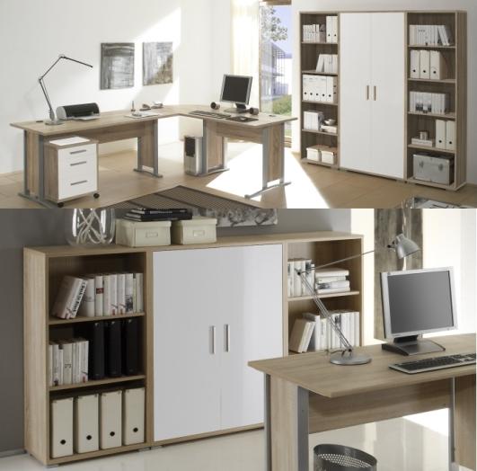 b ro office smart 8 teilig sonoma wei m bel. Black Bedroom Furniture Sets. Home Design Ideas