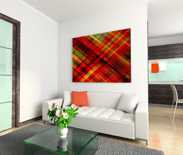 120x80cm Wandbild Hintergrund abstrakt kariert rot grün