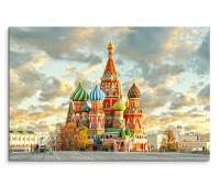 120x80cm Wandbild Russland Moskau Basilius Kathedrale Wolkenhimmel