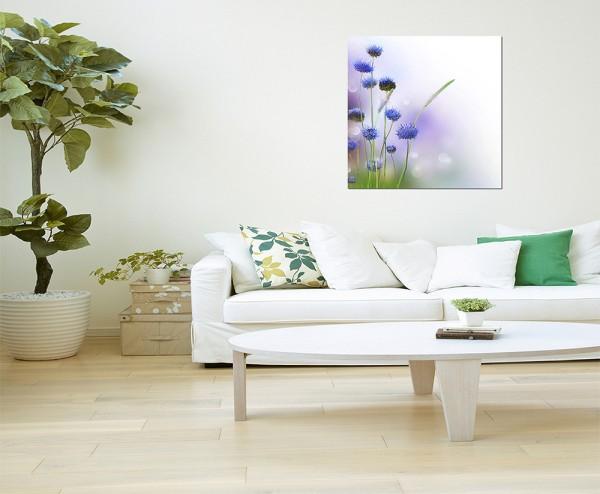 80x80cm Blumen blau abstrakt