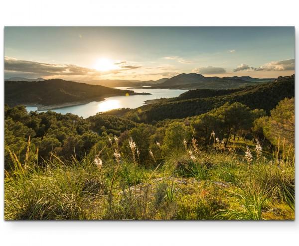 Sonnenuntergang Berglandschaft - Leinwandbild