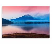 120x80cm Wandbild Japan Berg Fuji See Spiegelung Abendrot