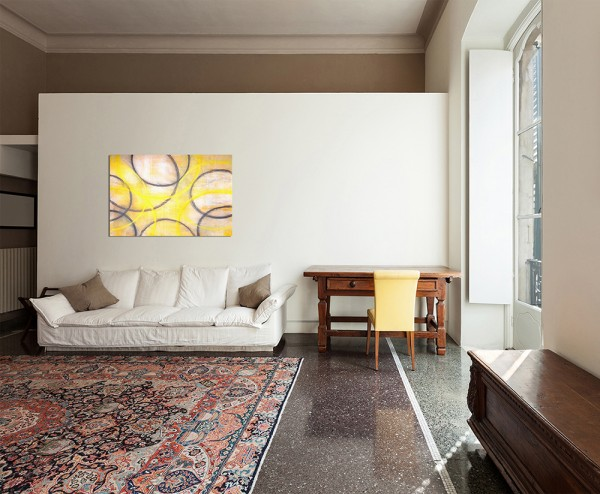 12x80cm Malerei Kunstwerk Kreise abstrakt