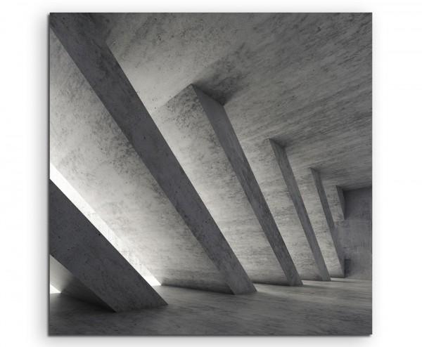 Architekturfotografie – Beton mit diagonalen Streben auf Leinwand exklusives Wandbild moderne Fotogr