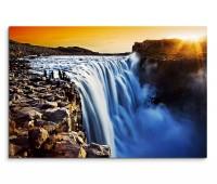 120x80cm Wandbild Island Wasserfall Felsen Sonnenuntergang