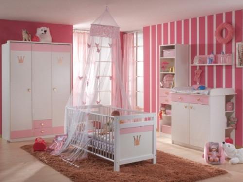 Babyzimmer Cindy in Weiß und Rosé von Wimex 4 teiliges Sparset mit Schrank, Bett mit Lattenrost und