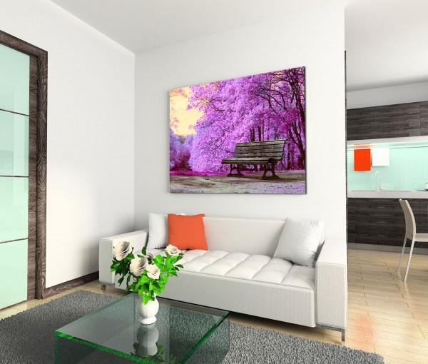 120x80cm Wandbild Park Bäume Blüten Bank