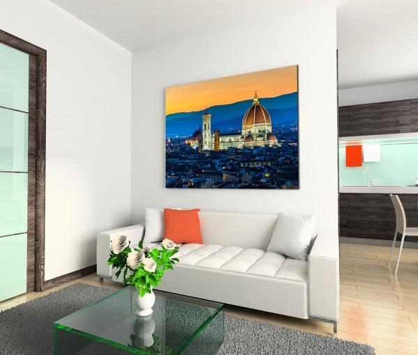 120x80cm Wandbild Italien Florenz Dom Stadt Sonnenuntergang