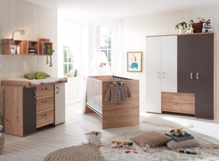 Babyzimmer Cordula in Asteiche, Lava matt und Weiß matt von Mäusbacher