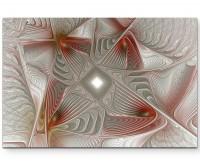 Abstraktes Muster – Silberne und rote Elemente - Leinwandbild