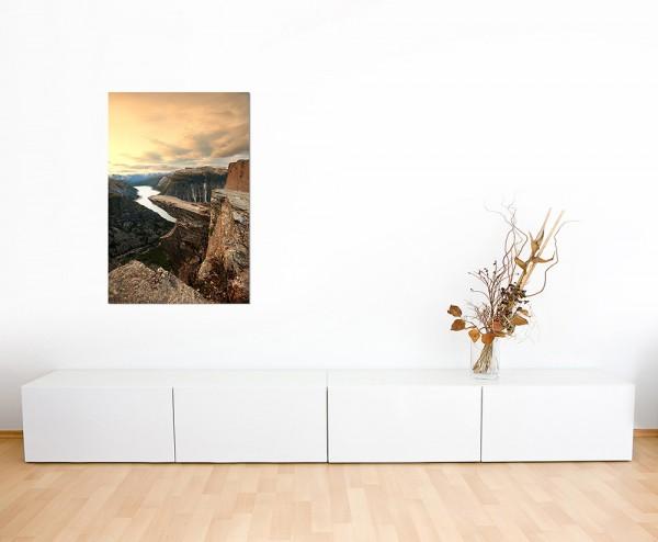 120x60cm Norwegen Felsen Schlucht Fluss Himmel