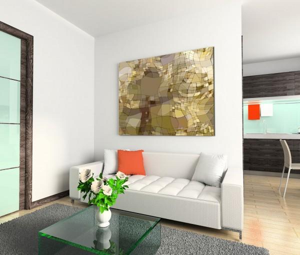 120x80cm Wandbild Hintergrund abstrakt Wellen grau braun beige grün