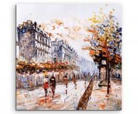 Ölgemälde – Straßenszene in Paris auf Leinwand - Leinwanddruck