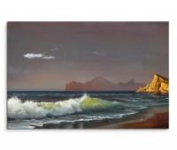 120x80cm Wandbild Ölgemälde Meer Strand Felsen Sonnenuntergang