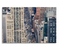 120x80cm Wandbild New York Manhattan Gebäude Straße Verkehr