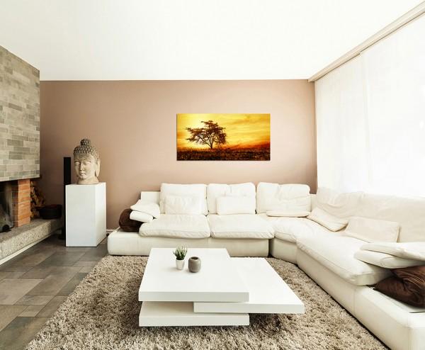120x60cm Afrika Baum Landschaft Sonnenuntergang