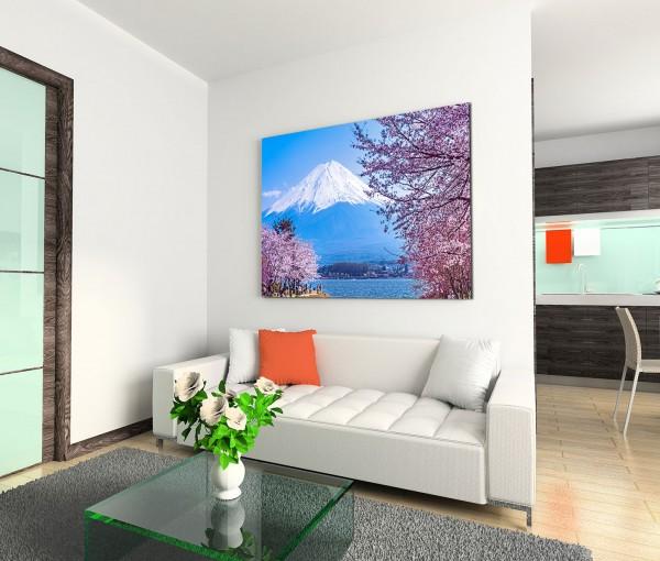120x80cm Wandbild Japan Fuji Schnee See Kirschbäume