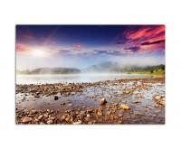 120x80cm Fluss Steine Hügel Sonne Wolkenhimmel