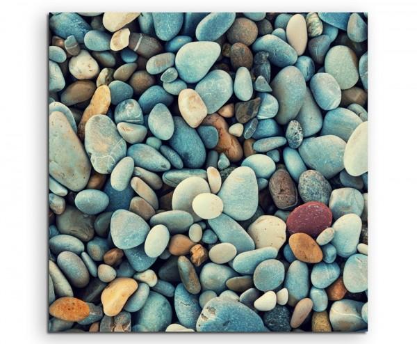 Naturfotografie – Bunte Kieselsteine auf Leinwand