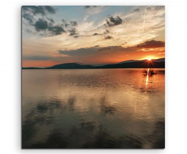 Landschaftsfotografie – Sonnenaufgang am Zhrebchevo Damm, Bulgarien auf Leinwand