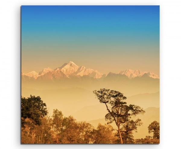 Landschaftsfotografie – Kanchenjunga Gebirgskette, Indien auf Leinwand