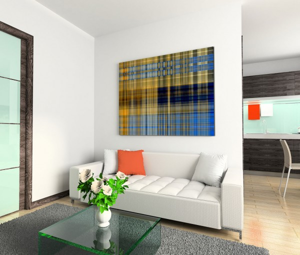 120x80cm Wandbild Hintergrund abstrakt Geometrie blau braun