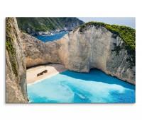 120x80cm Wandbild Griechenland Meer Bucht Strand Felsen