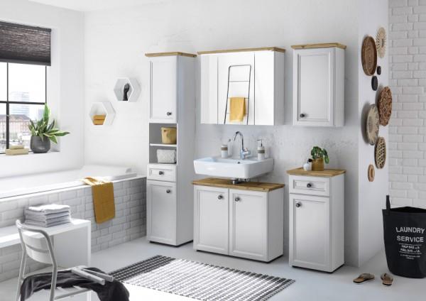 Badezimmer Toskana 5 Teile mit LED in Weiß und Artisan Eiche Möbel Komplettset mit Hochschrank, Waschbeckenunterschrank, Spiegelschrank, Hängeschrank und Kommode