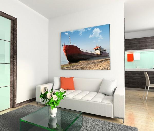120x80cm Wandbild Meer Sandstrand Fischerboot gestrandet