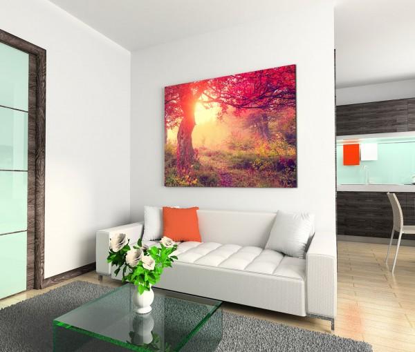 120x80cm Wandbild Wald Bäume Wiese Herbst Sonnenlicht