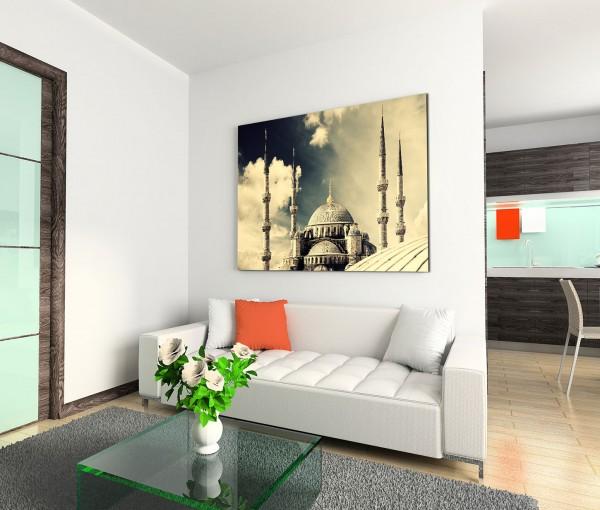 120x80cm Wandbild Istanbul Blau Moschee Wolken