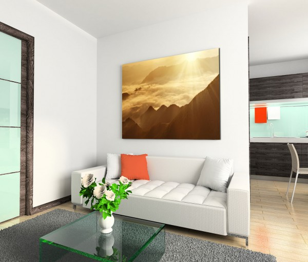 120x80cm Wandbild Berge Nebel Sonnenaufgang