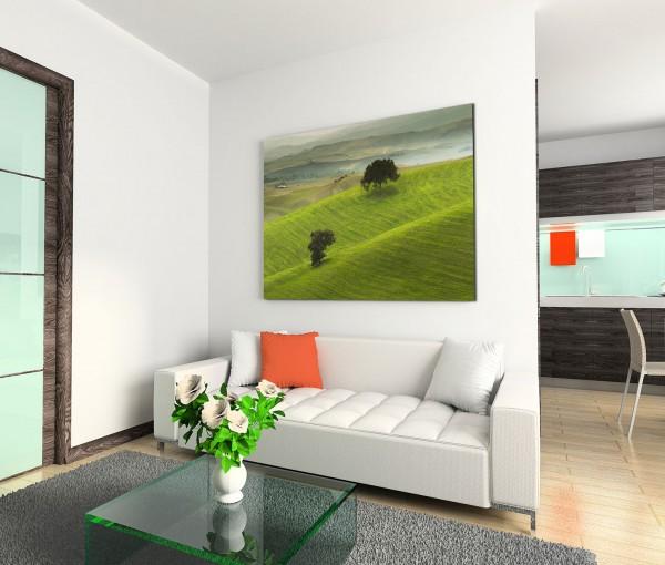 120x80cm Wandbild Toskana Wiesen Baum Nebel