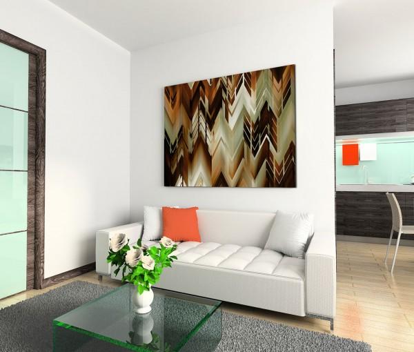 120x80cm Wandbild Hintergrund abstrakt Zickzack braun grün beige schwarz