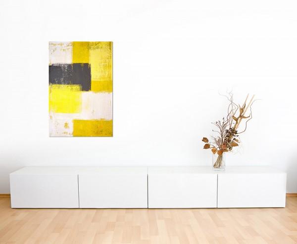 120x80cm Malerei gelb grau abstrakt