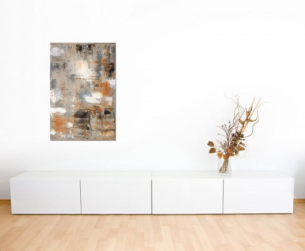 120x80cm Malerei Kunstwerk abstrakt braun/grau